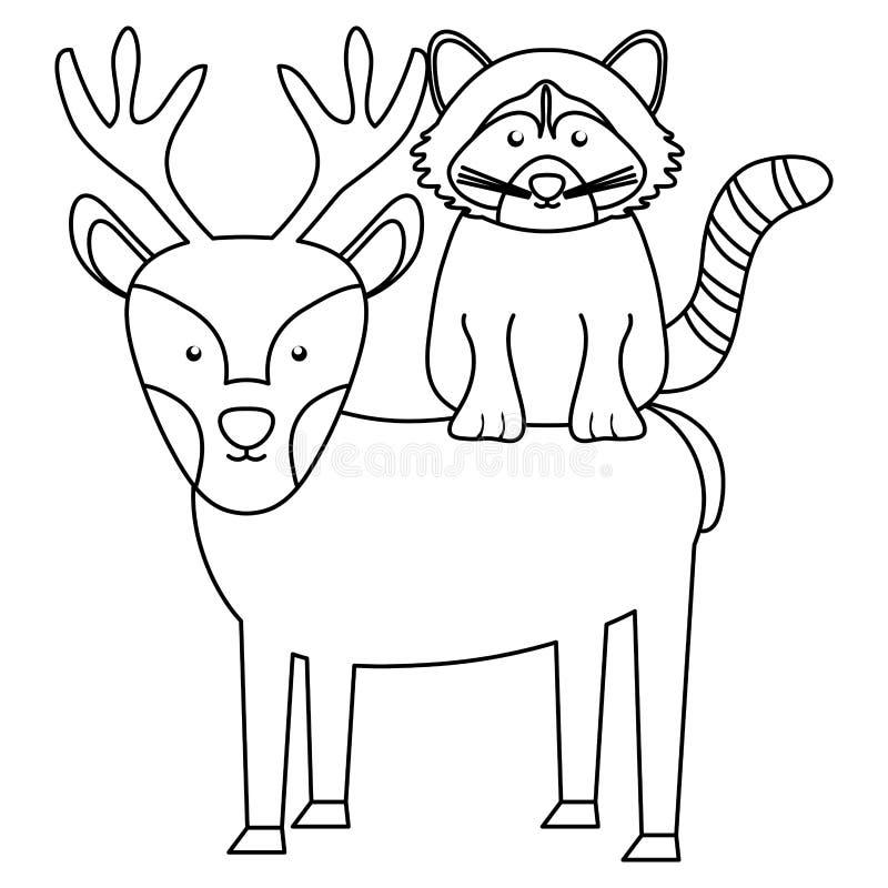 Caractères mignons de région boisée de raton laveur et de renne illustration stock