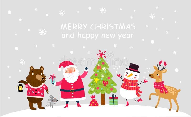 Caractères mignons Fond de vecteur de Noël Santa et amis illustration libre de droits