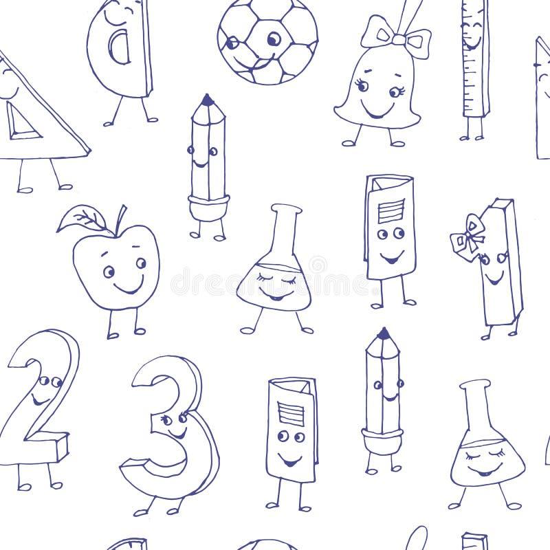 Caractères mignons tirés par la main d'école sur une feuille de livre d'exercice S illustration stock