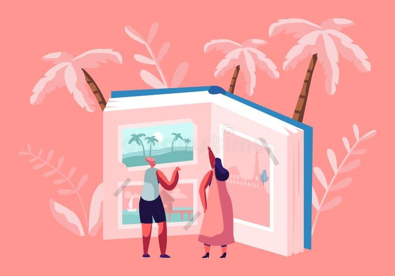 Caractères minuscules de femmes semblant les images de déplacement dans l'album photos énorme, station balnéaire tropicale, vues  illustration de vecteur