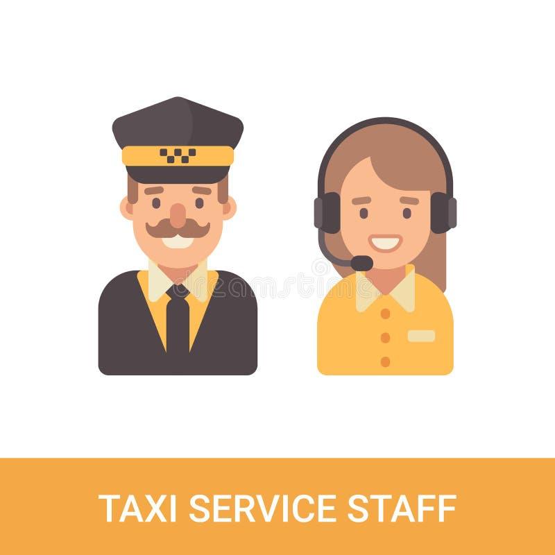 Caractères plats de personnel de service de taxi Chauffeur de taxi et expéditeur f illustration stock