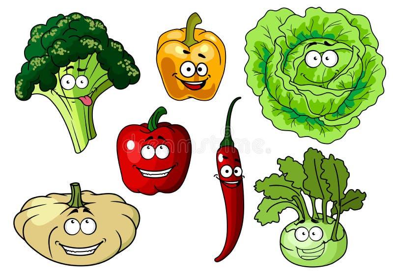 Caractères sains frais de légumes de bande dessinée illustration de vecteur