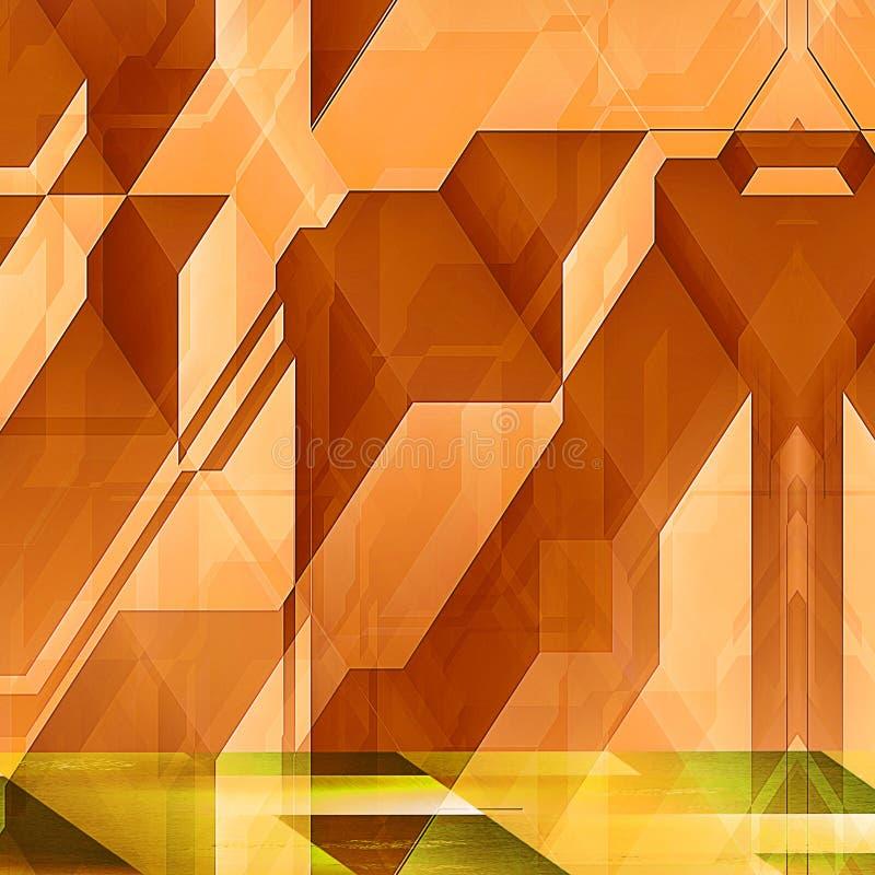 Caractéristiques architecturales modernes abstraites avec les blocs oranges illustration libre de droits