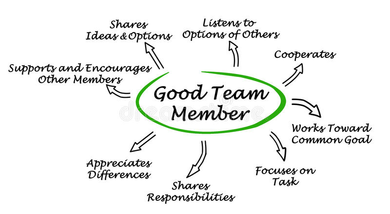Caractéristiques de bon Team Member illustration libre de droits