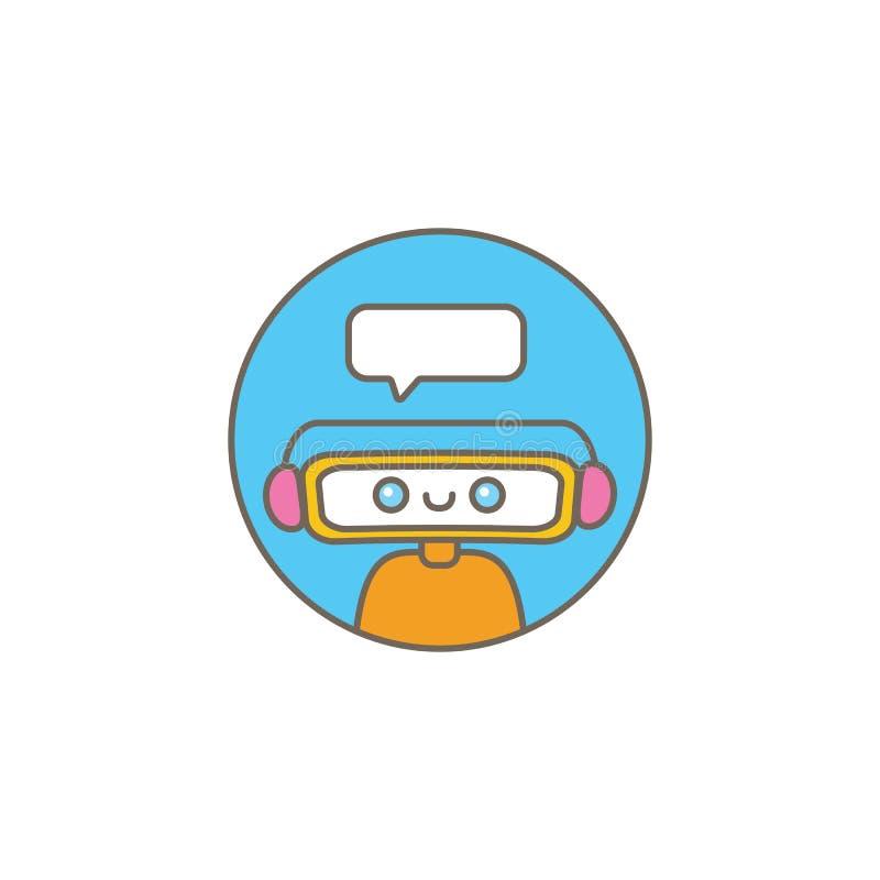 Caractère mignon de chatbot ou assistant intelligent avec la bulle de la parole d'isolement sur le fond blanc Robot drôle de vect illustration libre de droits