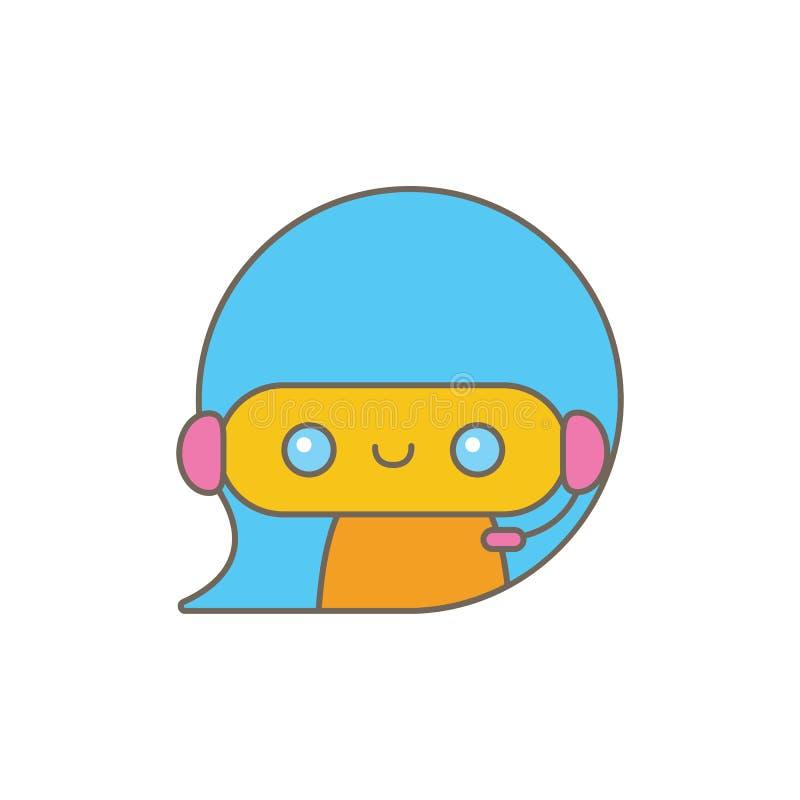 Caractère mignon de chatbot ou assistant intelligent avec la bulle de la parole d'isolement sur le fond blanc Robot drôle de vect illustration stock