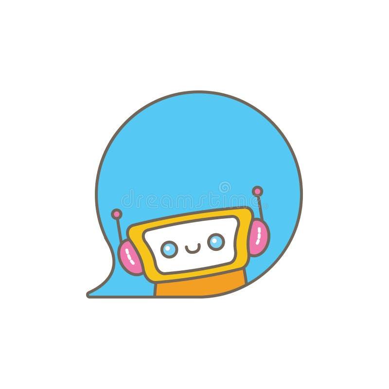 Caractère mignon de chatbot ou assistant intelligent avec la bulle de la parole d'isolement sur le fond blanc Robot drôle de vect illustration de vecteur