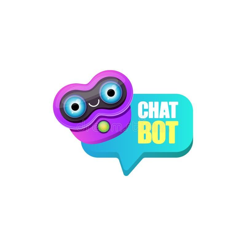 Caract?re mignon de chatbot ou assistant intelligent avec la bulle de la parole d'isolement sur le fond blanc Robot dr?le de vect illustration libre de droits
