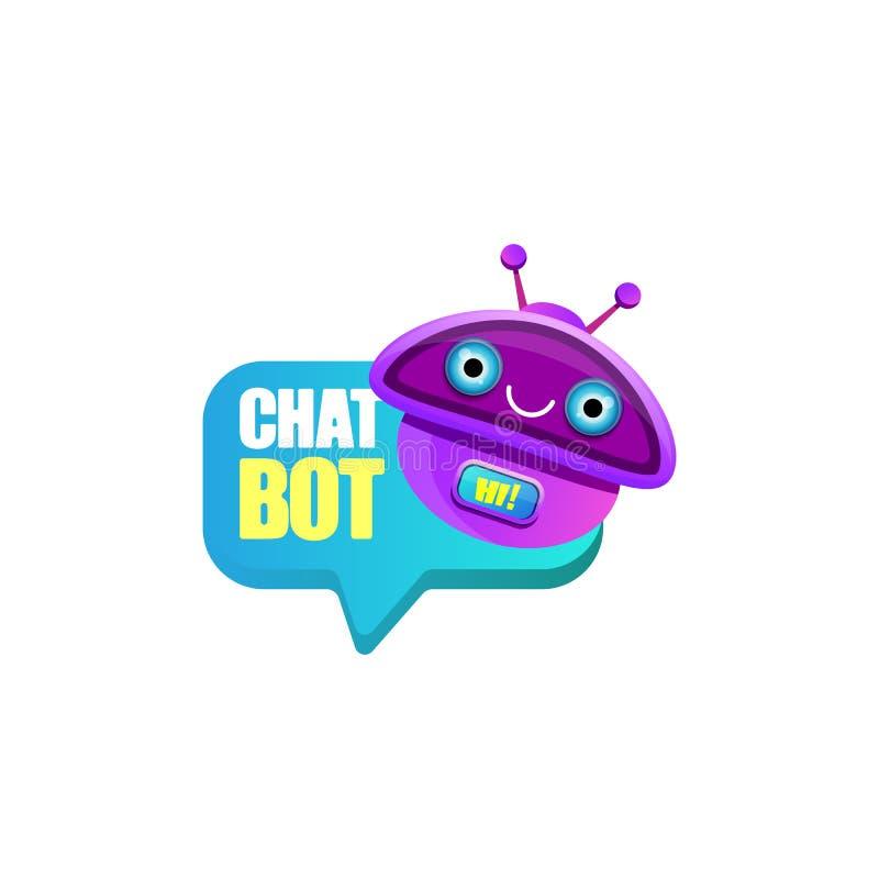 Caract?re mignon de chatbot ou assistant intelligent avec la bulle de la parole d'isolement sur le fond blanc Robot dr?le de vect illustration de vecteur
