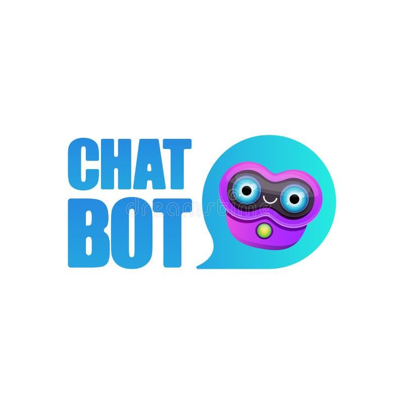 Caract?re mignon de chatbot ou assistant intelligent avec la bulle de la parole d'isolement sur le fond blanc Robot dr?le de vect illustration stock
