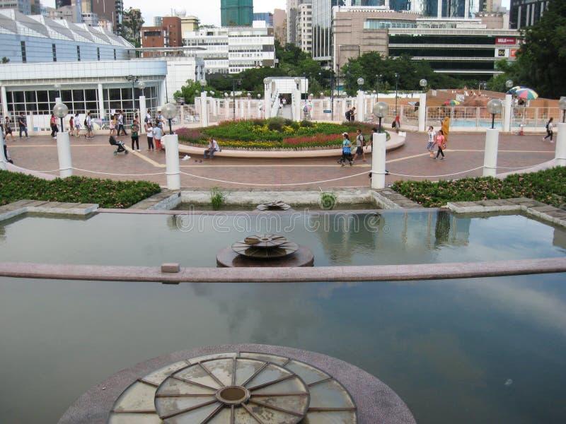 Característica da água no parque de Kowloon, Hong Kong foto de stock royalty free