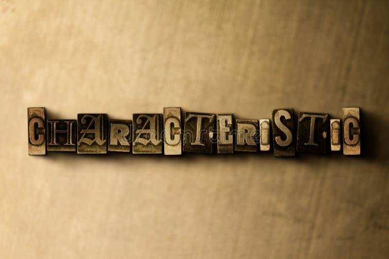 CARACTERÍSTICO - o close-up do vintage sujo typeset a palavra no contexto do metal ilustração do vetor
