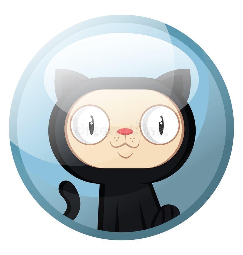Caractere de desenho animado de um gato preto com ilustração vetorial sorridente de cara branca em círculo azul claro ilustração do vetor