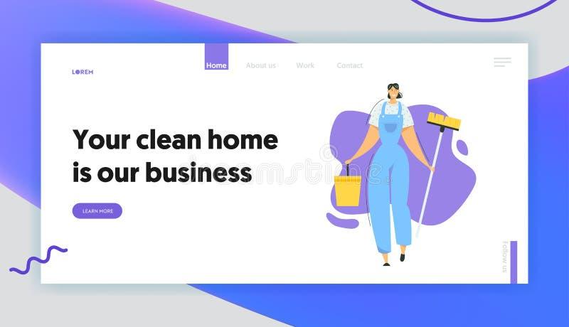 Caractere do Cleaner da Mulher com Página Inicial de Mop e Bucket Serviço de limpeza com pessoal feminino com equipamento ilustração royalty free
