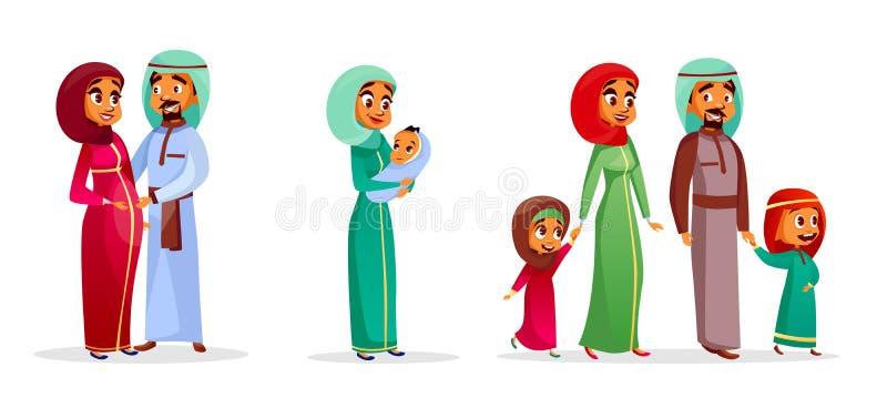 Caracteres árabes de la familia de la historieta del vector fijados stock de ilustración