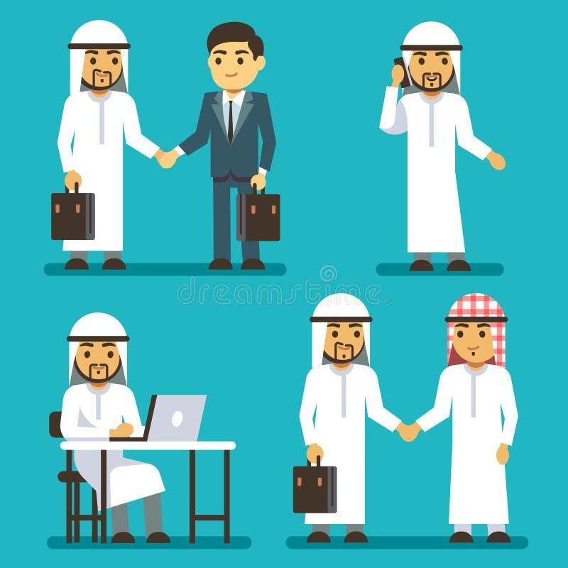 Caracteres árabes del hombre de negocios en el trabajo en sistema de la gente del saudí del vector de la oficina libre illustration