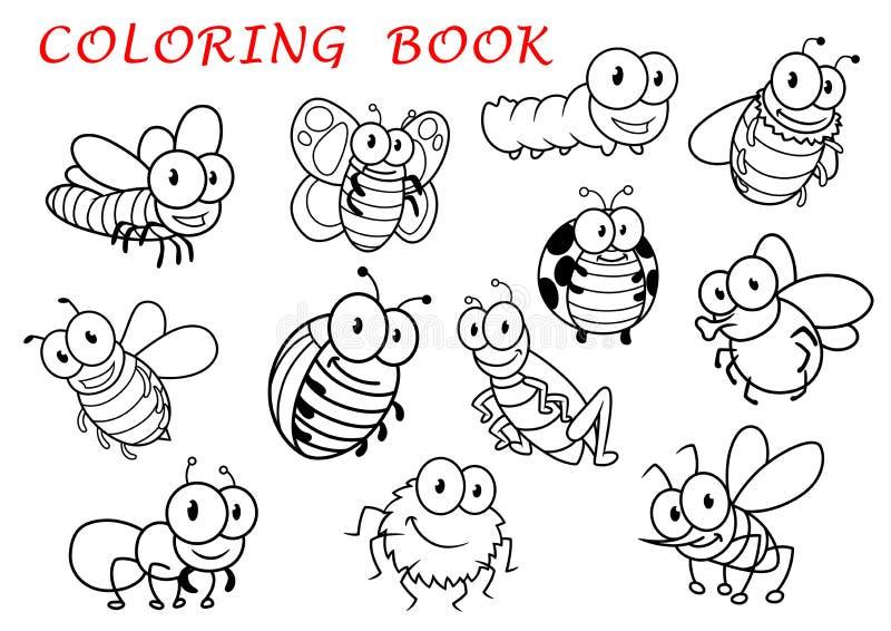 Caracteres aislados de los animales del insecto del esquema ilustración del vector