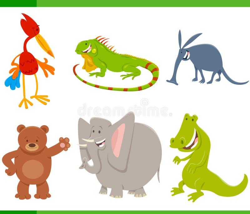 Caracteres animales de la historieta linda fijados ilustración del vector