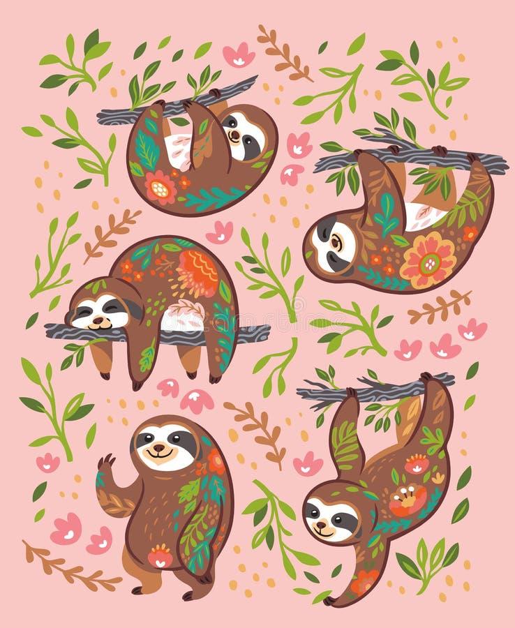 Caracteres animales del oso de pereza en el ornamento floral aislado en fondo rosado stock de ilustración