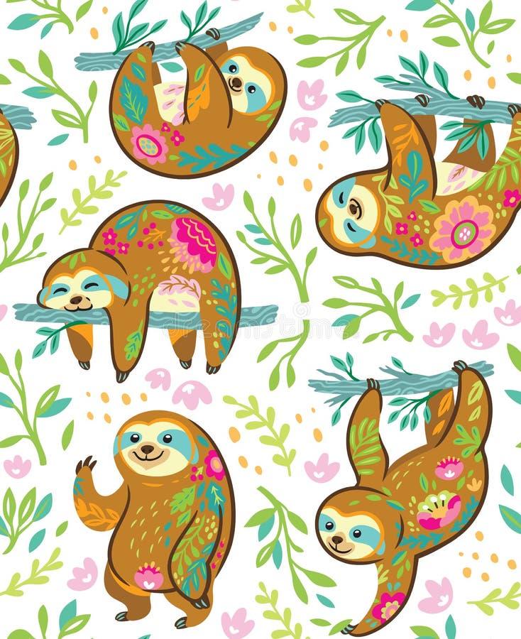 Caracteres animales del oso de pereza en modelo inconsútil del ornamento floral libre illustration