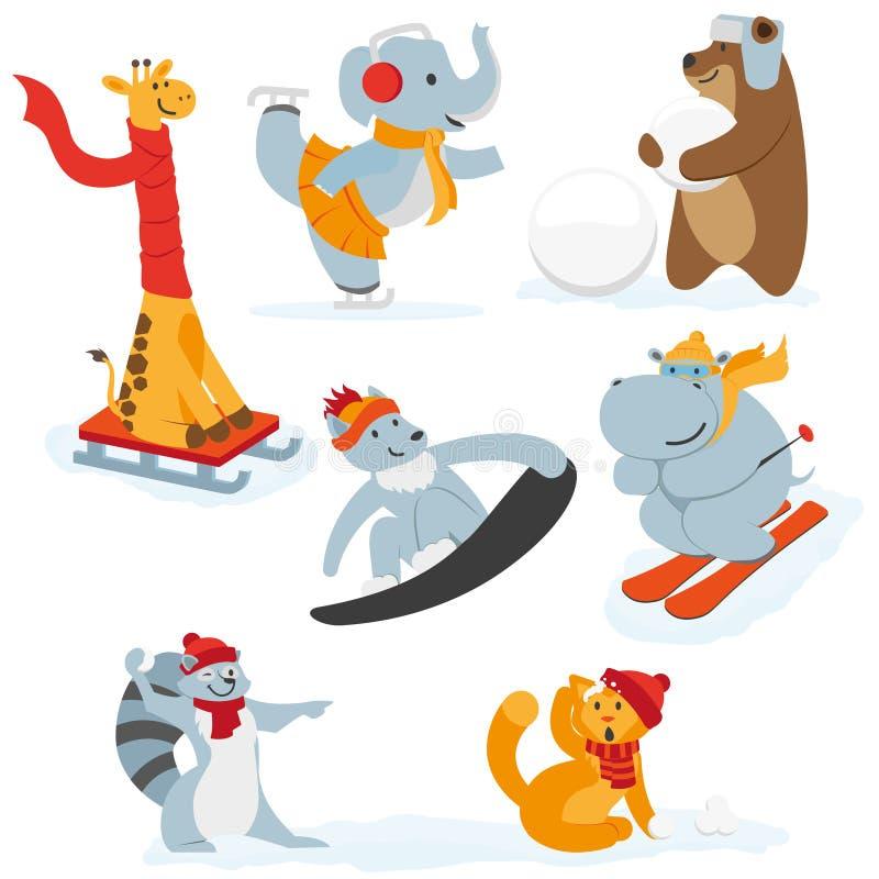 Caracteres animales lindos que hacen actividades del invierno ilustración del vector