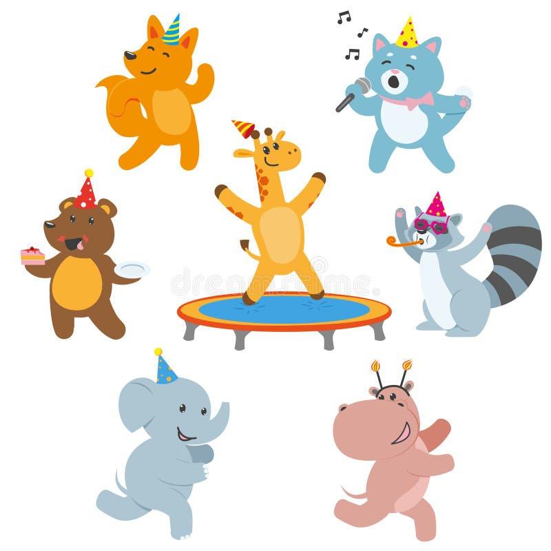 Caracteres animales que se divierten en la fiesta de cumpleaños ilustración del vector