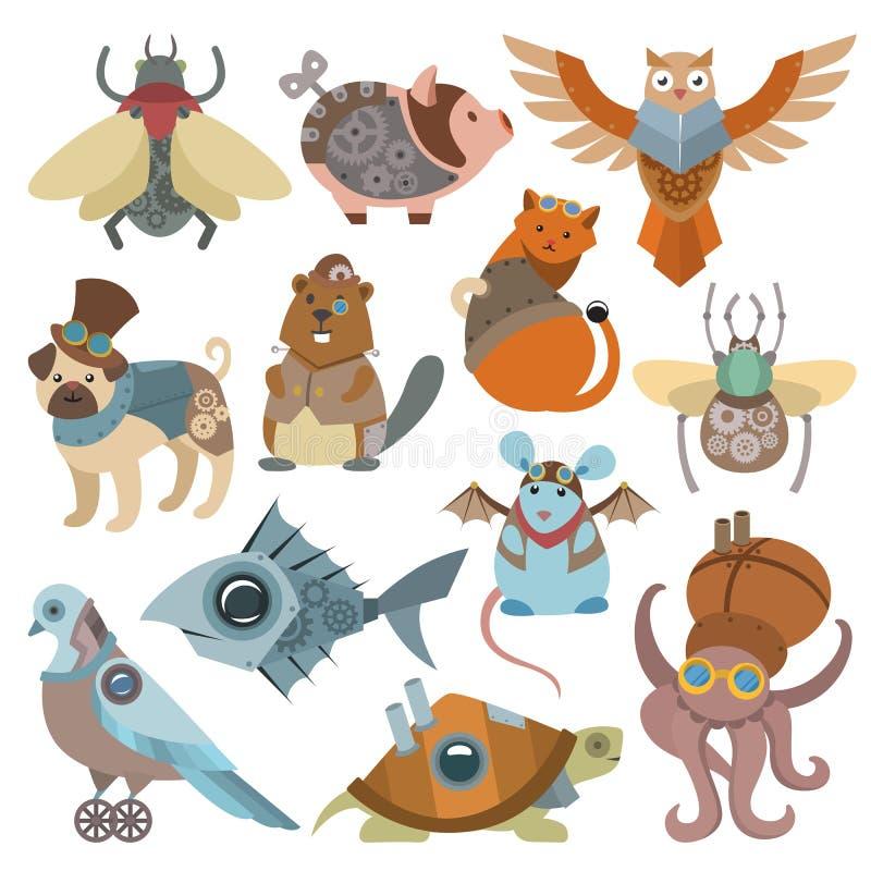 Caracteres animalistas del vector del steampunk de los animales en punky del vapor y sistema industrial del ejemplo del estilo de ilustración del vector