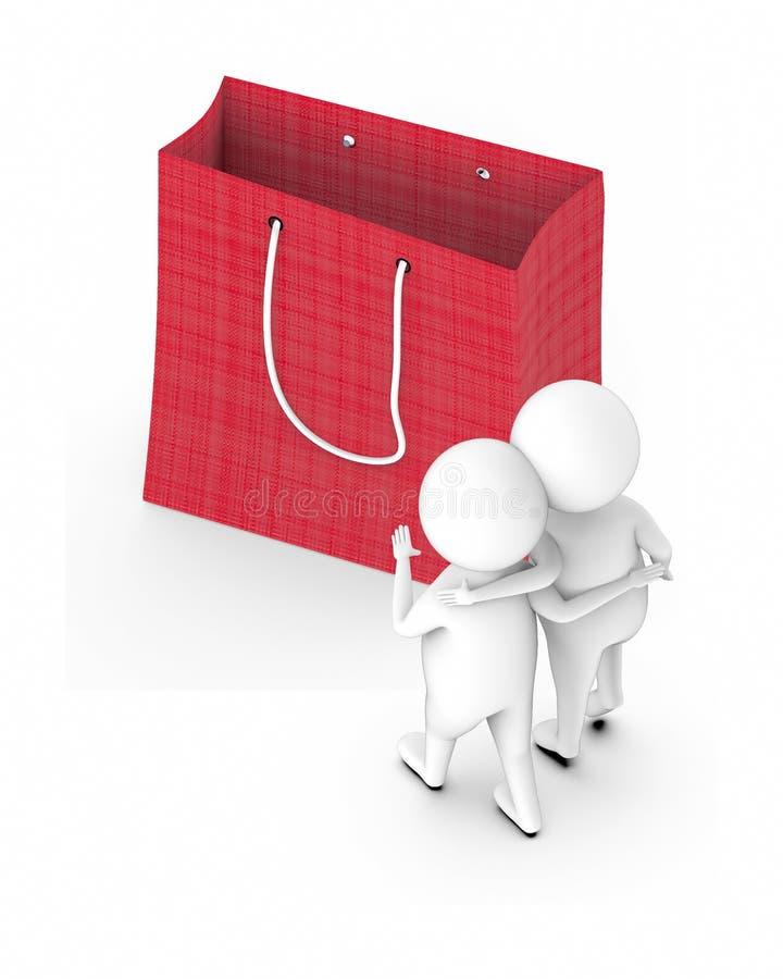 caracteres blancos 3d que inclinan las manos en sus hombros y que caminan hacia un bolso que hace compras grande stock de ilustración