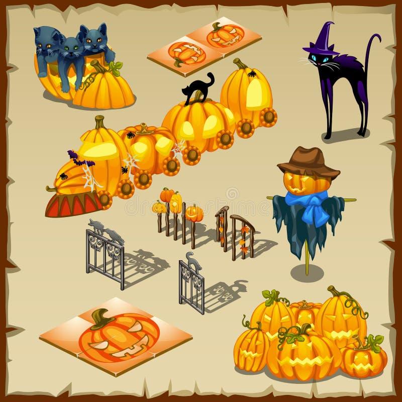 Caracteres, calabazas y decoraciones de Halloween libre illustration