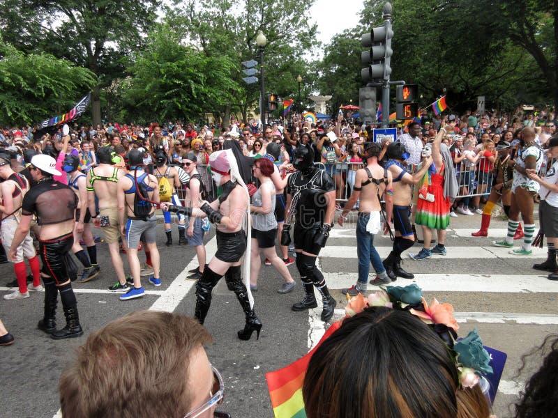 Caracteres coloridos en Pride Parade capital imágenes de archivo libres de regalías