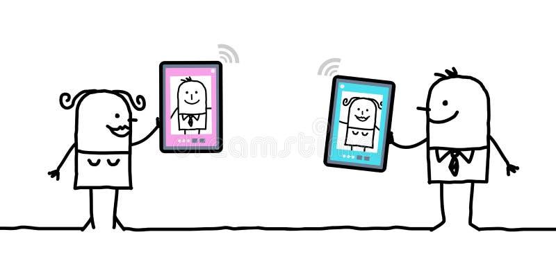 Caracteres con las tabletas - reunión ilustración del vector