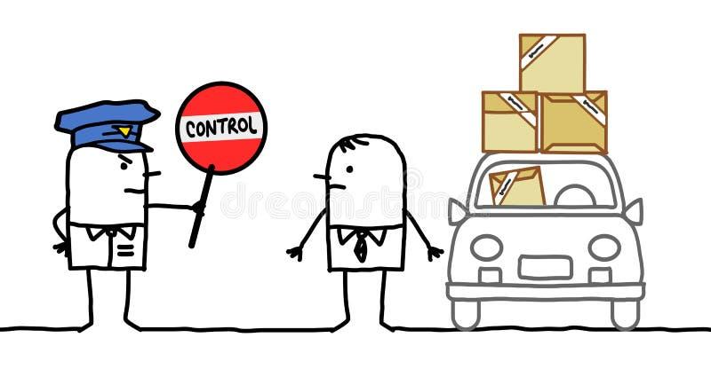 Caracteres - control de policía - paquetes ilustración del vector