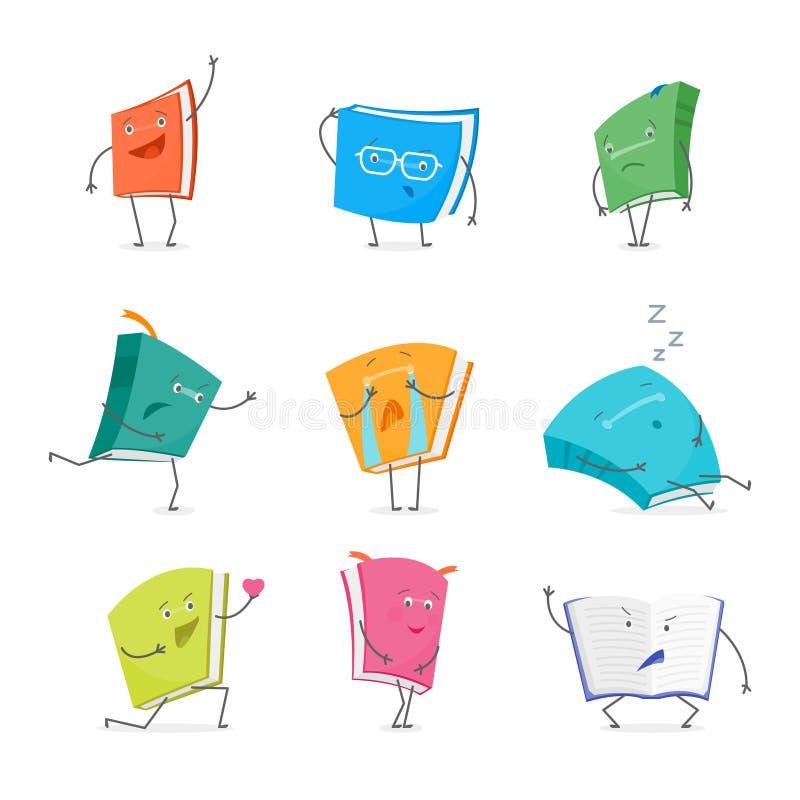 Caracteres de Emoji del libro de la historieta fijados Vector stock de ilustración