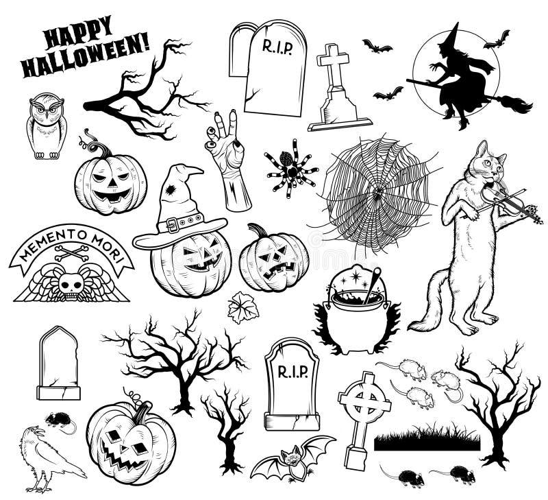 Caracteres de Halloween del libro de colorear Ilustración del vector libre illustration