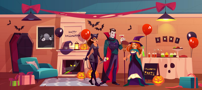 Caracteres de Halloween en interior adornado partido libre illustration