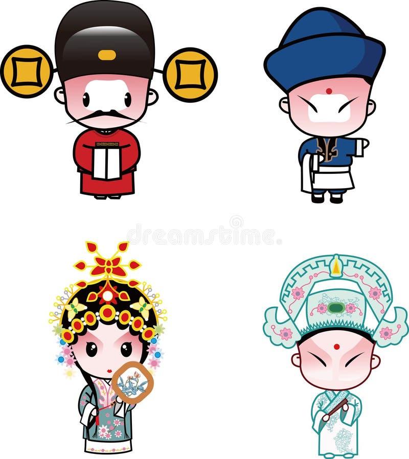Caracteres de la ópera de Pekín stock de ilustración