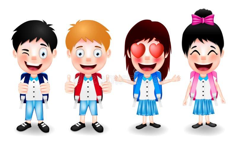 Caracteres de la colegiala con diversos expresiones faciales y gestos de mano stock de ilustración