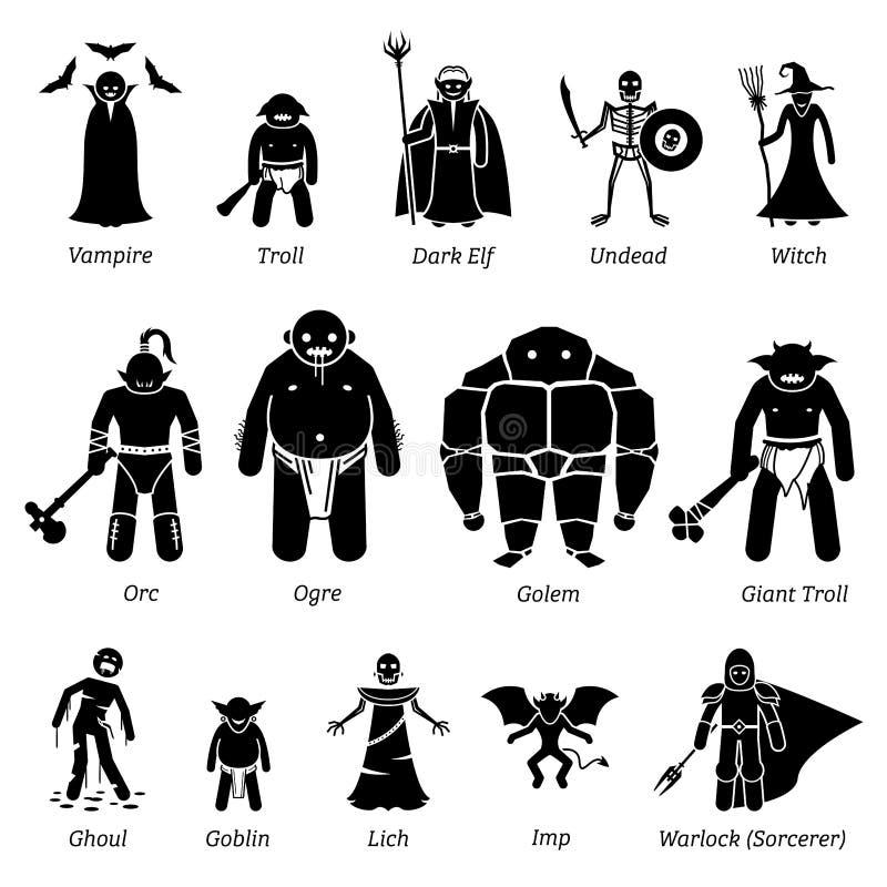 Caracteres de la fantasía medieval antigua, criaturas, y sistema malvados del icono de los monstruos ilustración del vector