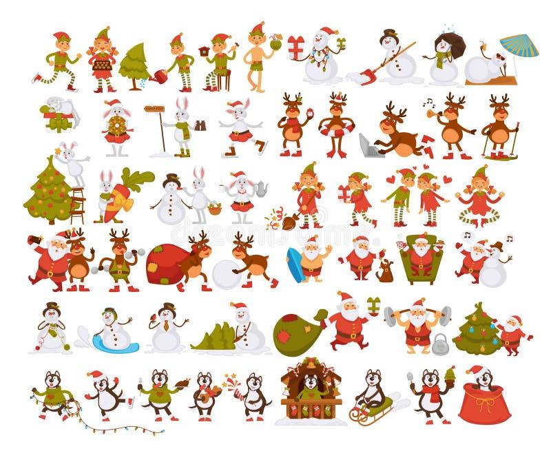 Caracteres de la Feliz Año Nuevo que descansan en la playa, Papá Noel y el conejo libre illustration