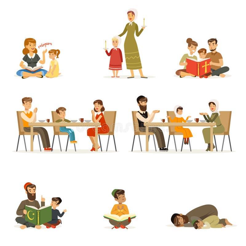 Caracteres de la gente de diversas religiones fijadas Judíos, católicos, actividades religiosas de los musulmanes Vector plano de ilustración del vector