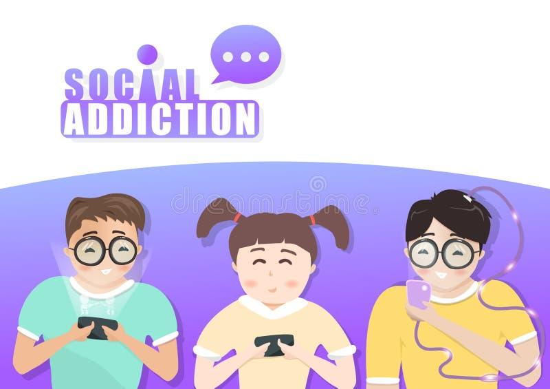 Caracteres de la gente, jugando la forma de vida móvil, social del apego de los medios, fondo plano del vector de la tecnología d ilustración del vector