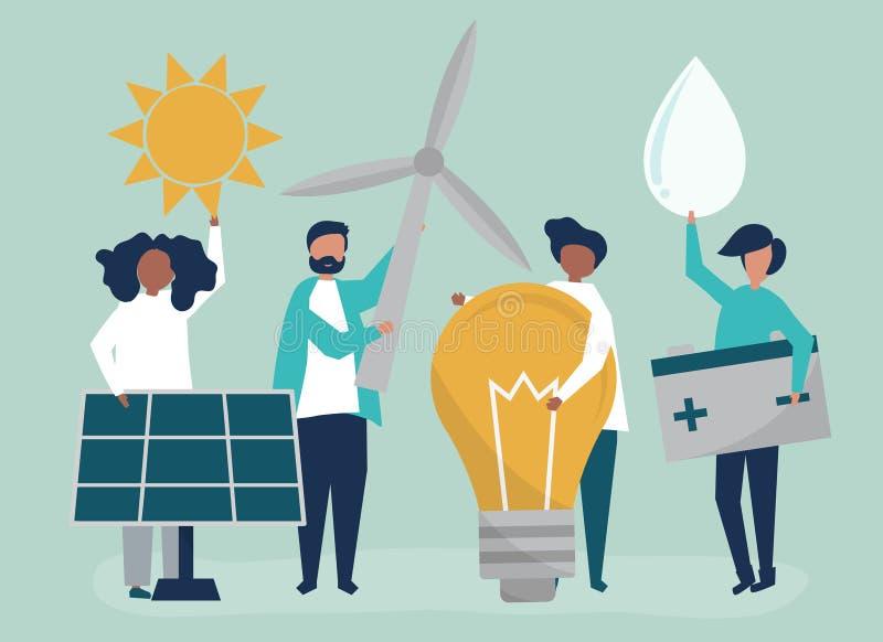 Caracteres de la gente que lleva a cabo iconos verdes de la energía ilustración del vector