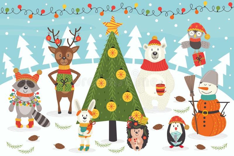 Caracteres de la Navidad alrededor del árbol de navidad libre illustration