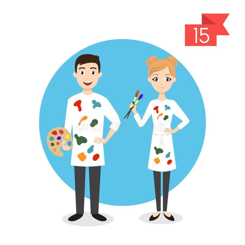 Caracteres de la profesión: hombre y mujer Artista o pintor ilustración del vector