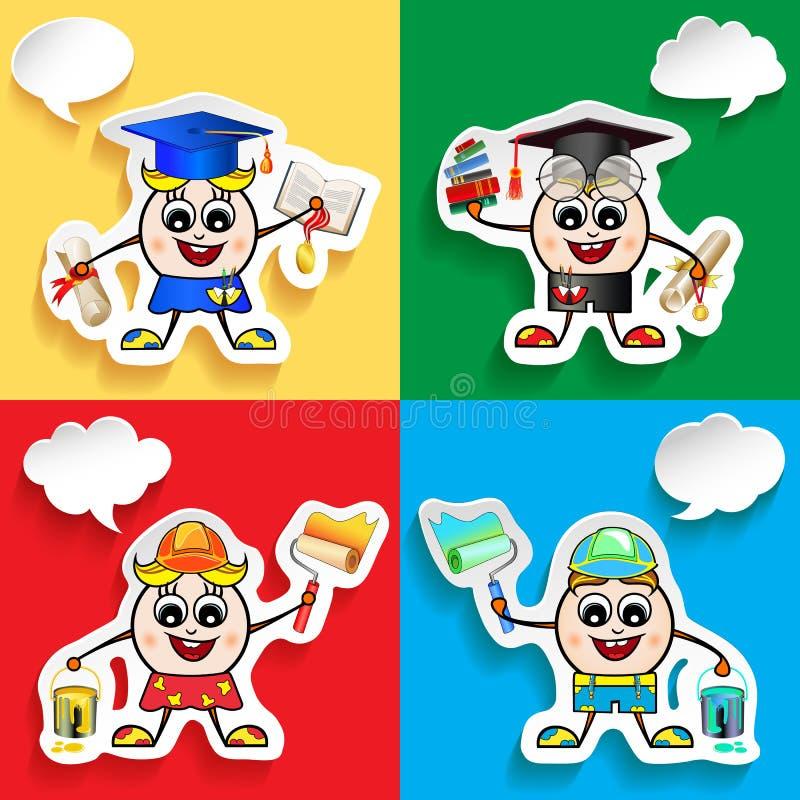Caracteres de la profesión y de la materia fijados con las burbujas del discurso Graduado, pintor, trabajador libre illustration