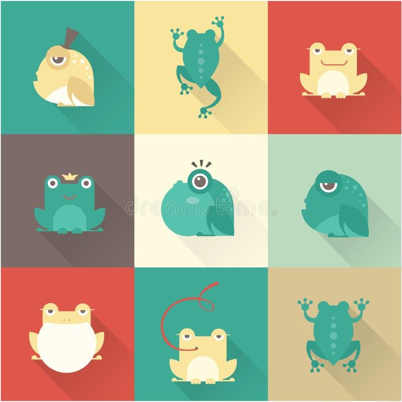 Caracteres de la rana planos stock de ilustración