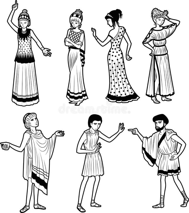 Caracteres de la tragedia del griego clásico stock de ilustración