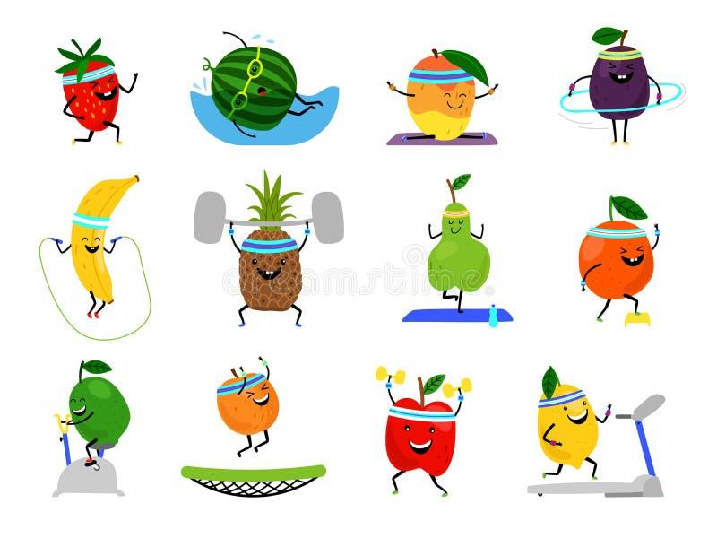 Caracteres de las frutas del deporte Comidas divertidas de la fruta en los ejercicios del deporte, nutrición sana humana vitamini ilustración del vector