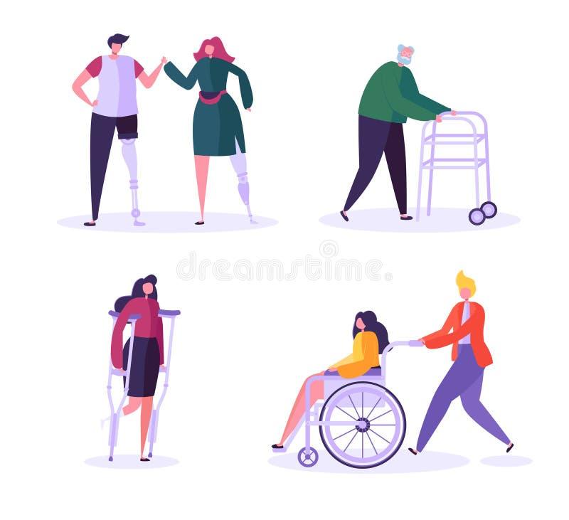 Caracteres de las personas discapacitadas Mujer en silla de ruedas con el hombre cuidadoso Pacientes con incapacidades, muchacha  stock de ilustración
