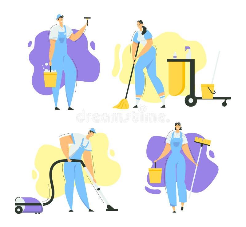 Caracteres de Limpeza com Mop, Limpeza de Vácuo e Ferramentas Serviço de Limpeza com Pessoal com Equipamento Washing ilustração stock